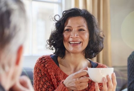 Bright Eyed Woman with Coffee